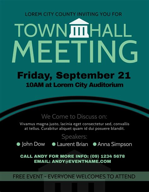 townhall meeting poster design template  images