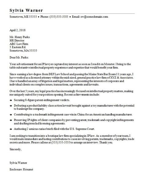 Cover Letter Attorney Position by Lawyer Cover Letter Sle
