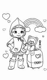 Ruby Rainbow Coloring Mewarnai Gambar Muslimah Kartun sketch template