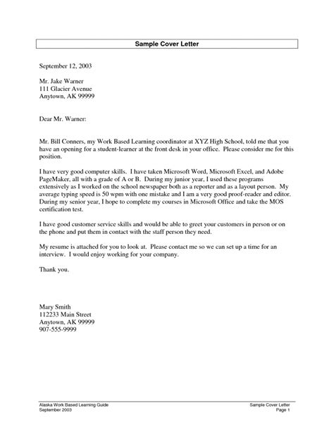 School Cover Letter by Cover Letter High School Student Resume Format