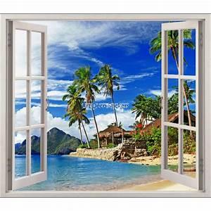 Image Trompe L Oeil : sticker fen tre trompe l 39 oeil les tropiques r f 5480 ~ Melissatoandfro.com Idées de Décoration
