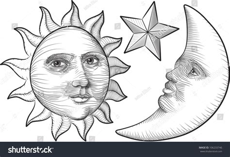 Etchedstyle Cartoon Illustration Sun Moon Star Stock
