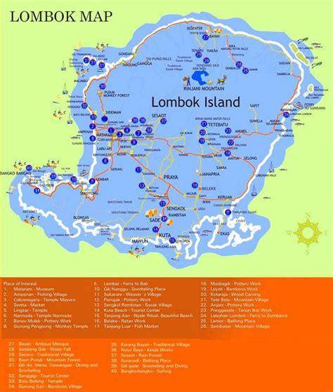 lombok sightseeing map maps en  lombok map  bali