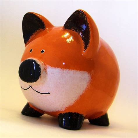 6073 porcelain piggy bank personalized piggy bank fox woodland with