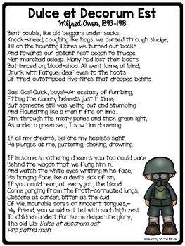 dulce  decorum est poem reading guide  comprehension