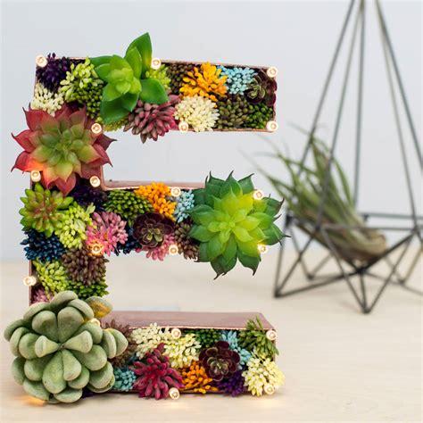 succulent letter handmade succulent letter light by the white bulb notonthehighstreet com