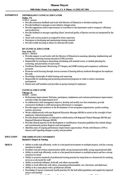 Educator Resume by Clinical Educator Resume Sles Velvet