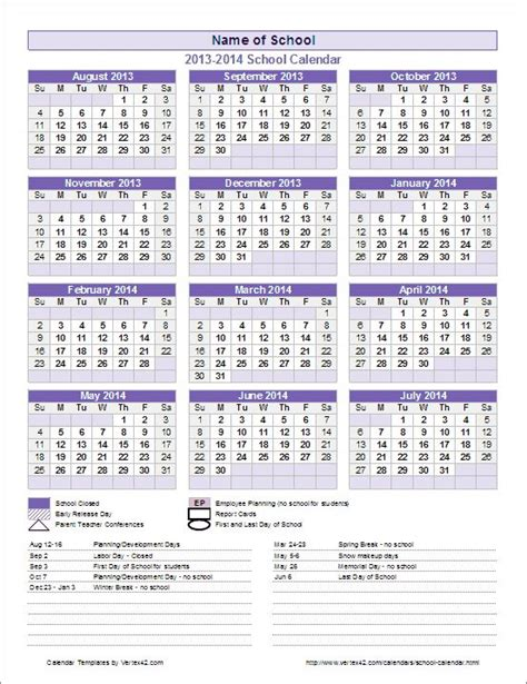 create school year calendar excel calendars planners