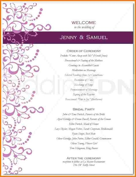 page wedding program template authorization letter