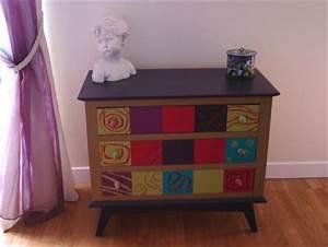 Commode À Peindre : relooker ses meubles couleurs toniques et pochoirs pour sa commode ~ Carolinahurricanesstore.com Idées de Décoration