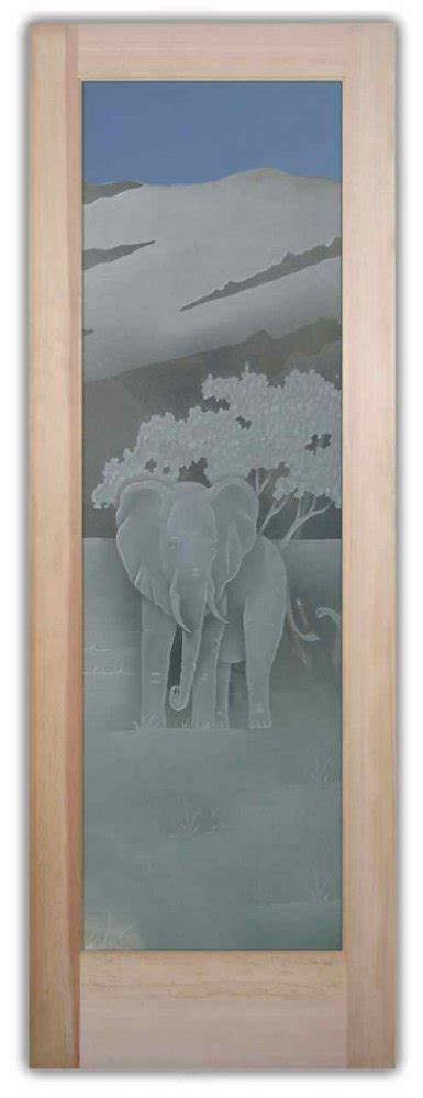 elephant   wild  etched glass doors african decor