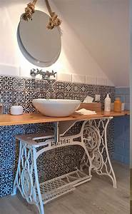 977 best images about recup on pinterest With salle de bain design avec machine a coudre singer décorative