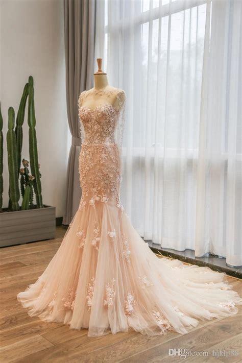 elegant mermaid lace wedding dresses pink wedding gown