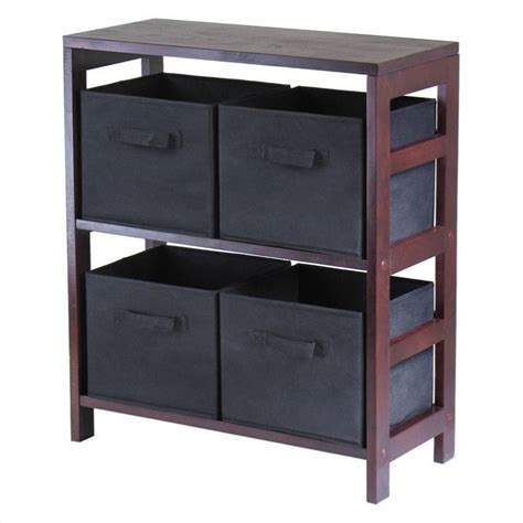 storage bookcase with baskets 2 section storage shelf with 4 foldable black fabric