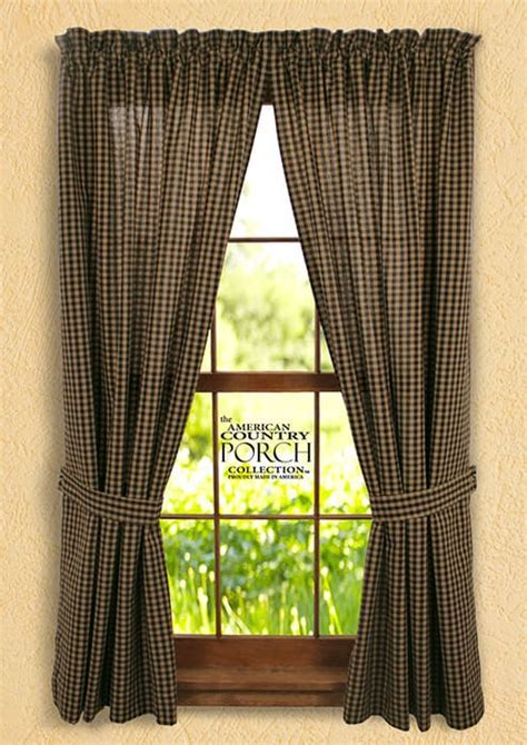 New England Black Tea Dyed Check Tieback Curtain Panels