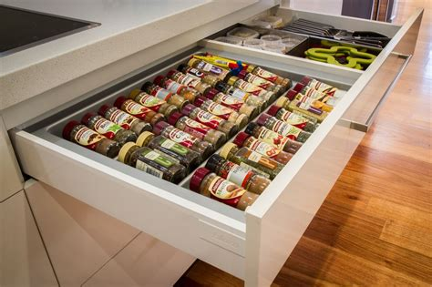 Spice Rack Storage System spice drawer blum drawer www thekitchendesigncentre