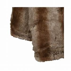 plaid haut de gamme en fausse fourrure raye marron taupe With tapis de yoga avec plaid canapé fausse fourrure
