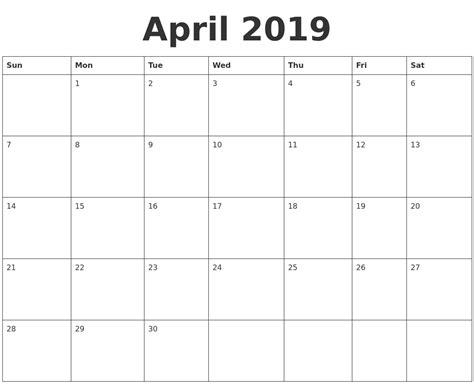 april blank calendar template