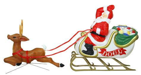 animated santa in sleigh with reindeer lighted outdoor