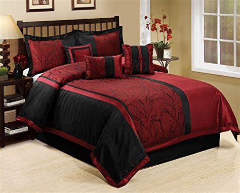 burgundy and black comforter set 7 leticia tree branches jacquard burgundy black