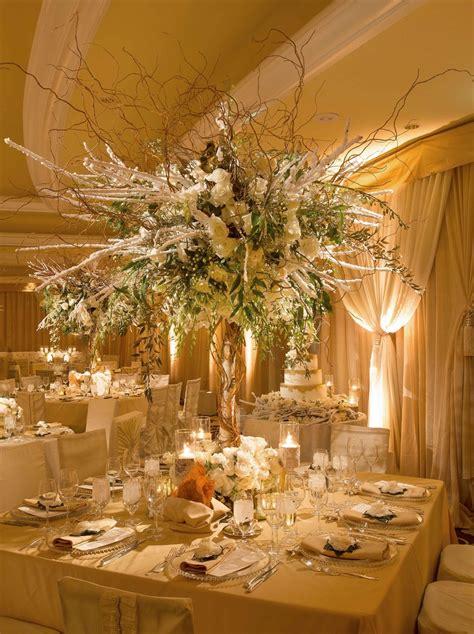 reception decor  tall winter wedding flower