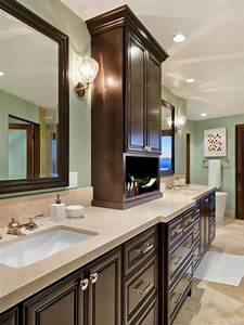 Pale, Blue, Traditional, Master, Bathroom, With, Dark, Cabinets