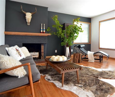 brick fireplace mantel Living Room Contemporary with