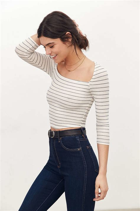 lyst cooperative  mate square neck cropped top
