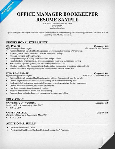Bookkeeper Resume by Office Manager Bookkeeper Resume Sles Across All