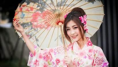 Japanese Kimono Smile Umbrella 4k Wallpapers Uhd