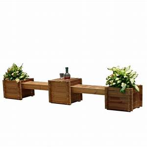 TherMod Contessa 138 in. x 20 in. Wood Bench Planter