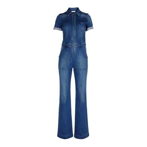 blue jumpsuits stella mccartney denim jumpsuit in blue blue lyst