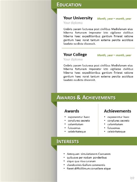 Cleaning Curriculum Vitae by Clean Resume Cv Template For Powerpoint