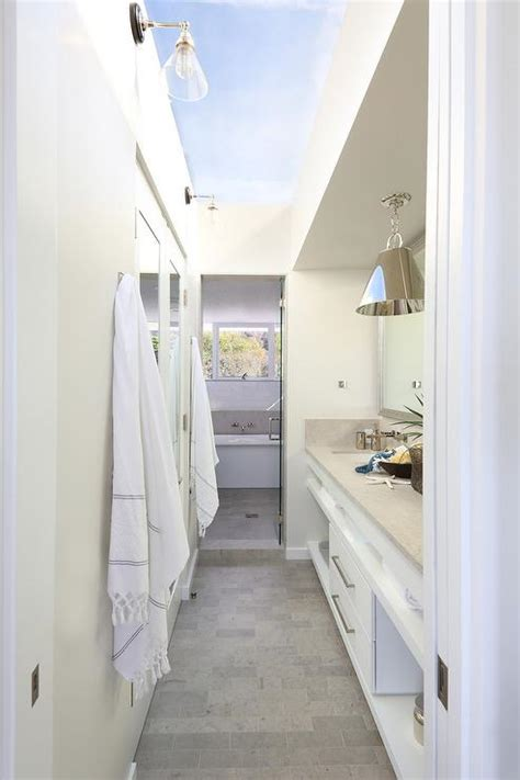 galley style bathroom  glass ceiling cottage bathroom
