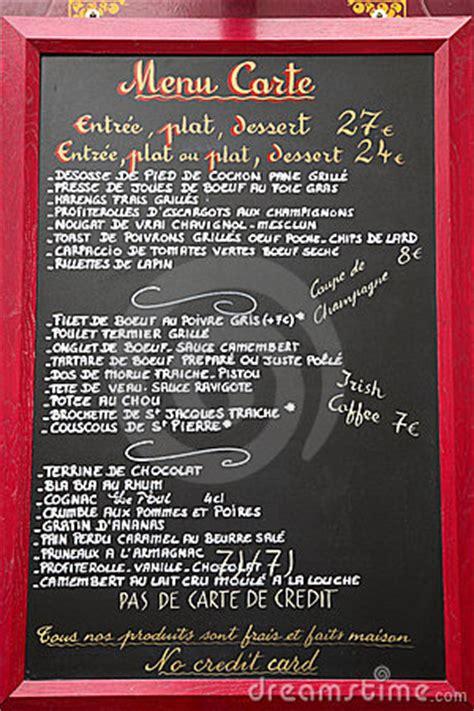 french language menu paris france stock images image