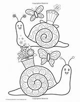 Snail Coloring Colouring Snails Spring Craft Preschool Printable Visit sketch template