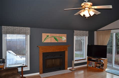 dark sloped ceiling how to make low wall appear higher