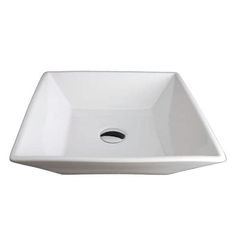Square Bathroom Sinks Home Depot by Kingston Brass Single Square Bathroom Sink In White