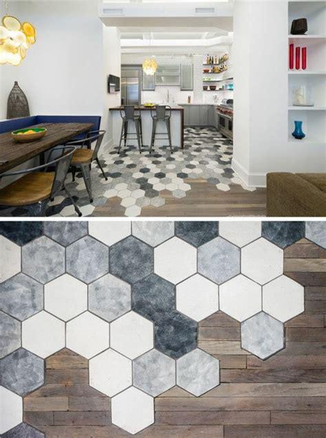 revetement mural cuisine credence le carrelage hexagonal une tendance qui fait grand