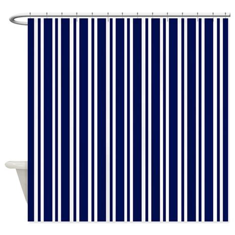 Navy And White Striped Curtains Uk by Navy Blue White Stripes Shower Curtain By