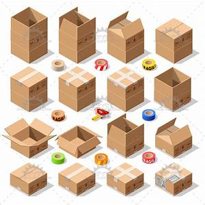 Cardboard Delivery Box Packaging 3d Isometric Vector Icons