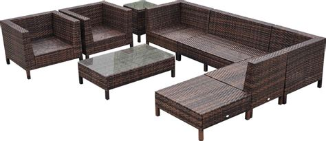 outsunny 9 wicker outdoor sectional sofa set patio