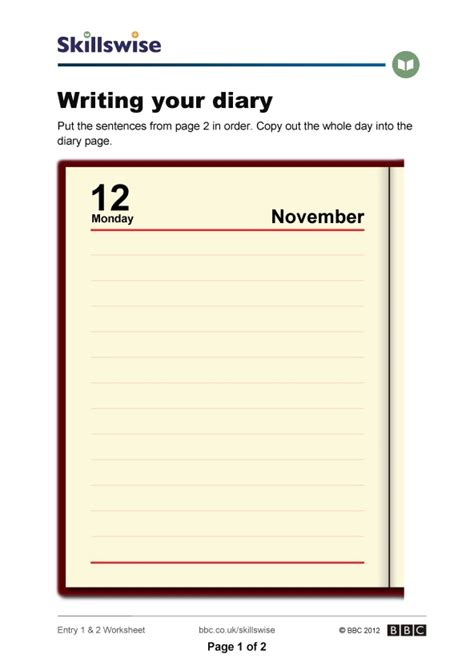 worksheets on diary writing diary writing template ks2 images template design ideas