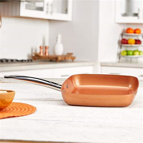 copper chef   square frying pan skillet  ceramic  stick coating perfect