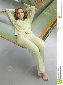 Woman In Hammock Stock Image  Image Of Casual  Sitting