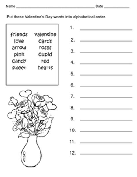 valentine s day alphabetical order spelling words