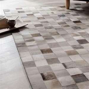 Tapis Cuir Patchwork : tapis 100 cuir carreaux beige effet patchwork modern ~ Teatrodelosmanantiales.com Idées de Décoration