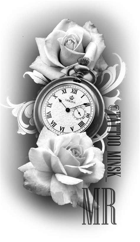 pin  maja kobylarczyk  wzory tatuazy rose tattoos clock rose tattoo  tattoos