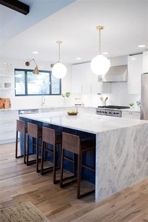 navy blue kitchen island  marble countertop homemydesign