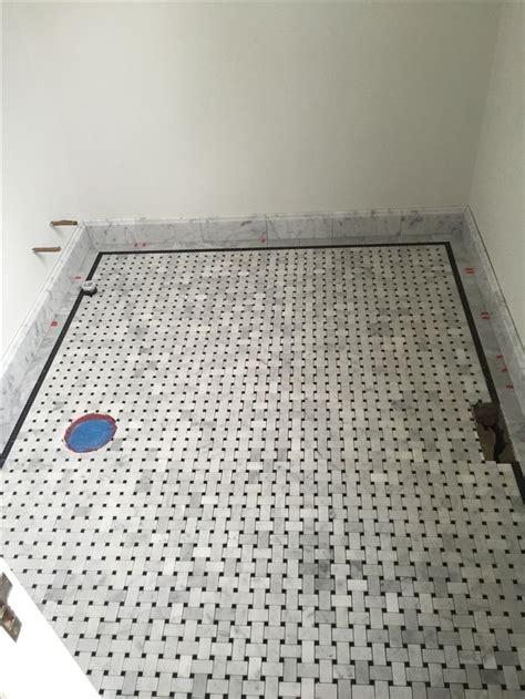 guest bathroom basketweave tile  marble  akdo